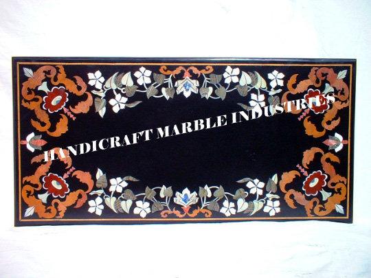 Natural Black Marble  Inlay Semi Precious Stones , Eating Table, Marble Patio