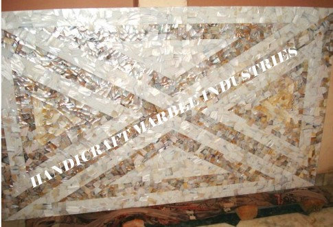 """48"""" x 30"""" inch Random Design Table Top Mother of Pearl, Abalone Shell Center"""