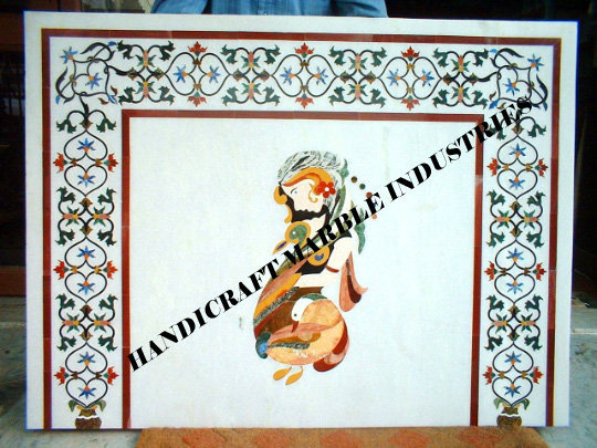 """36"""" X 24"""" Inch Marble Mantel piece for Fireplace etc. Multi Color Lady Figure"""