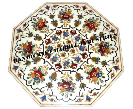 """48""""X48"""" Inch Table Top Marble Inlay Multi Colour Floral Pattern, Octagon Table"""