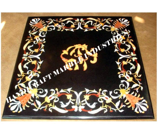 Square Black Marble Inlay Table Top, Modern Design Modern Decor Table, Breakfast
