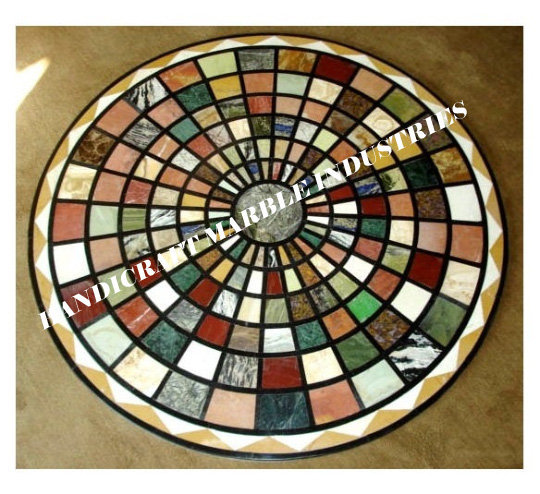 Multi Color Stones Table Top Center Table, Pietra Dura Marquetry Art Coffee