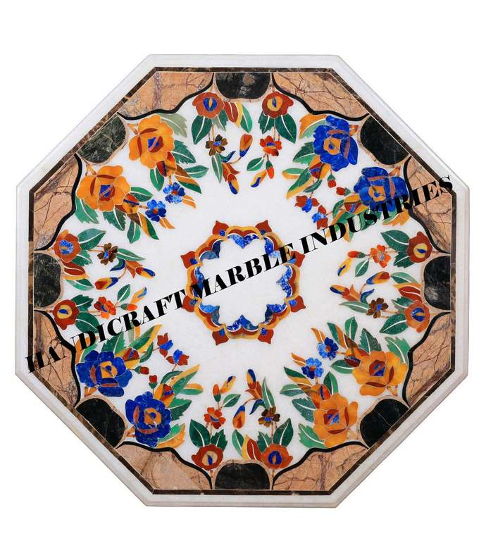 """36""""X 36""""Rose Flowers Inlay Marble Coffee Table Living Room Furniture Outdoor"""