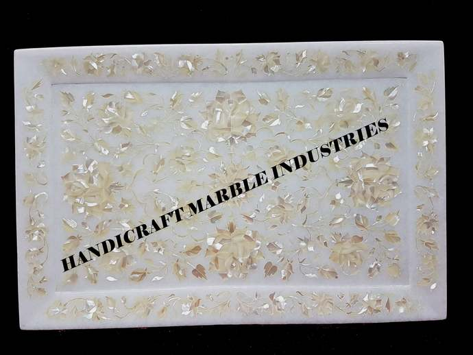 White Marble Serving Tray, Mother Of Pearl Inlay Tray, Serving Tray, Marble