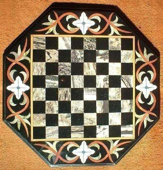 Marble Chess Board Octagonal with Marble Chess figures Hand Made Stone Inlay