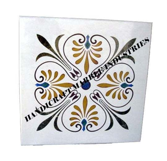 Square Marble Table Modern Inlay Pietra Dura / Floor Medallion Inlay Multi Color