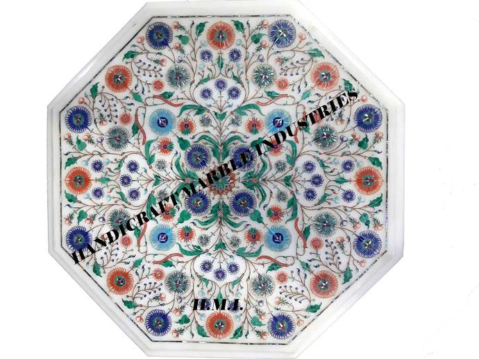 """19"""" X 19"""" Inch Marble Table Super Fine Inlay Multi Colour Foral Pattern / Art"""