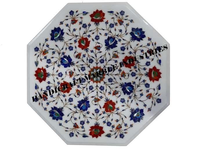 "19"" X 19"" Inch Marble Coffee Table Carnelian / Lapislazuli Inlay Floral Home"