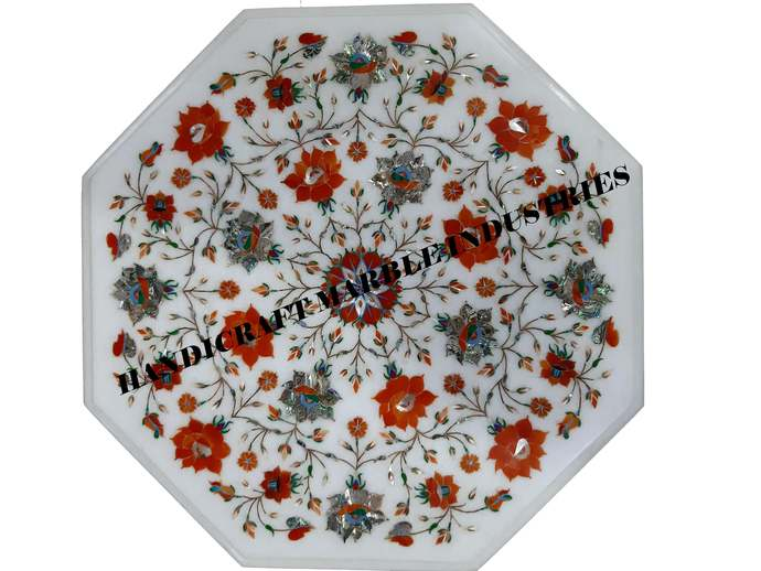 "18"" X 18"" Inch White Marble Coffee Table Pietra Dura Floral Marquetry Carnelian"