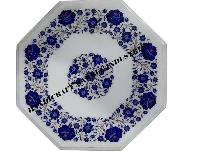 Lapislazuli Inlay Table Top,Small Side Table, Bedside Table, Corner Table,