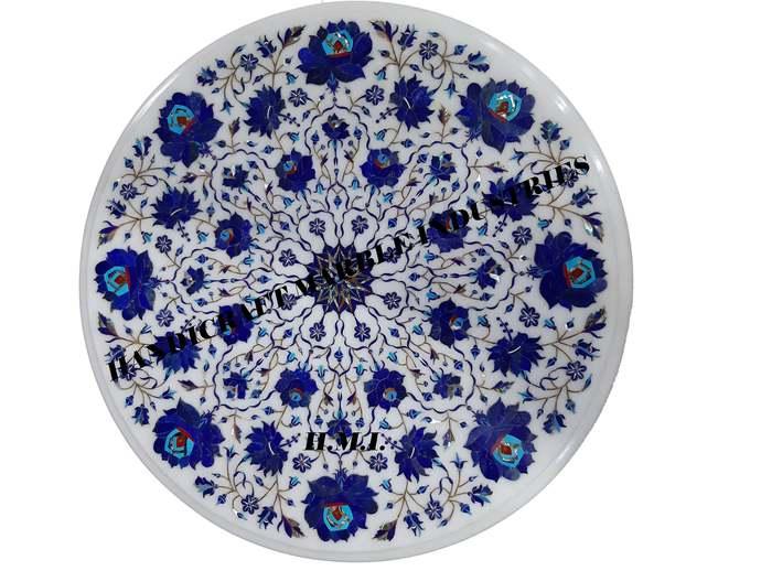 Lapis Lazuli Marble Inlay Coffee Table Top Pietra Dura Handicrafts,Home Decor,