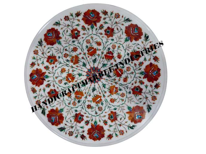 Round Table Top,Orange(Fire Stone) Inlay Table, Living Room Furniture, Marble