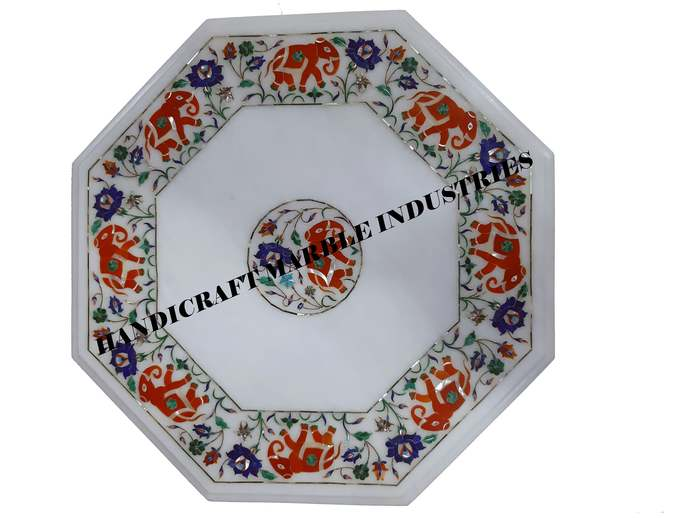 Elephant Inlay Octagon Table Top,Multi Color Orange(Fire Stone)Table, Living