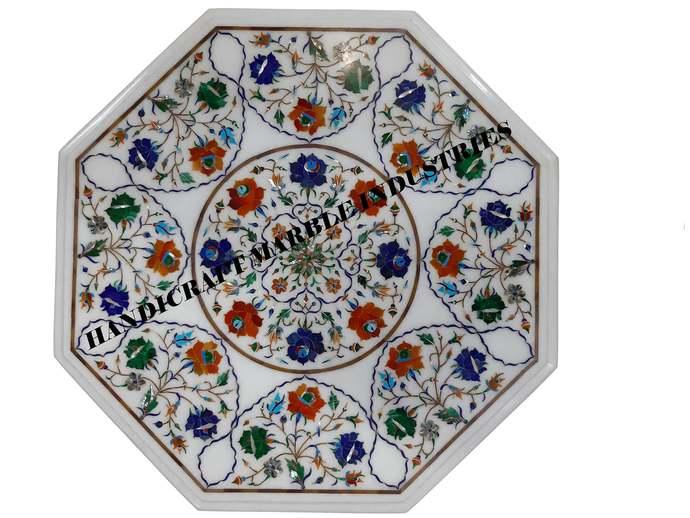 Octagon Marble Table Top,Multi Colour Semi Precious Stones,Table, Living Room