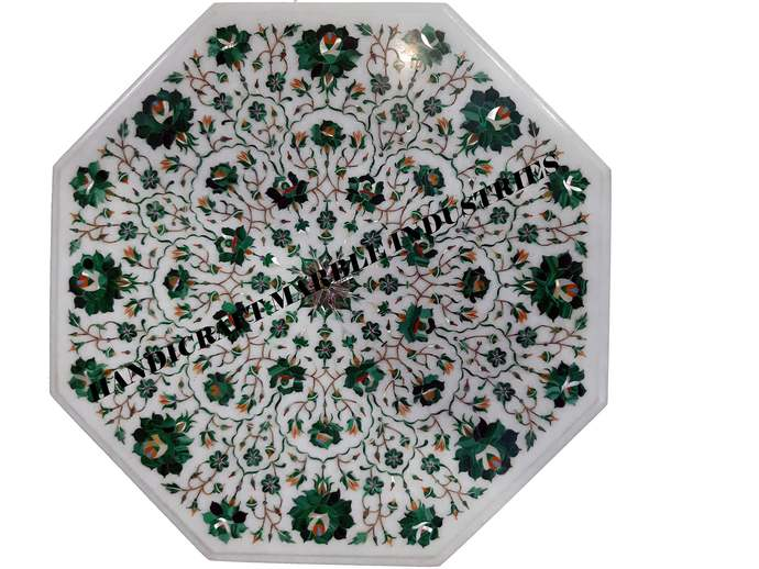 Malachite Inlay Marble Table Top Octagonal Natural Design Rose Flowers, Living