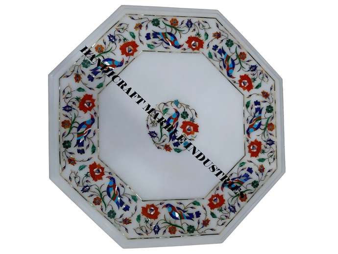 Octagon Marble Table Top, Bird Inlay Design, Living Room Table, Side Table,