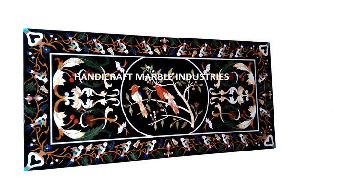 Marble Inlay Table Bird Inlay Pietra Dura Design Rectangle Coffee Table, Accent