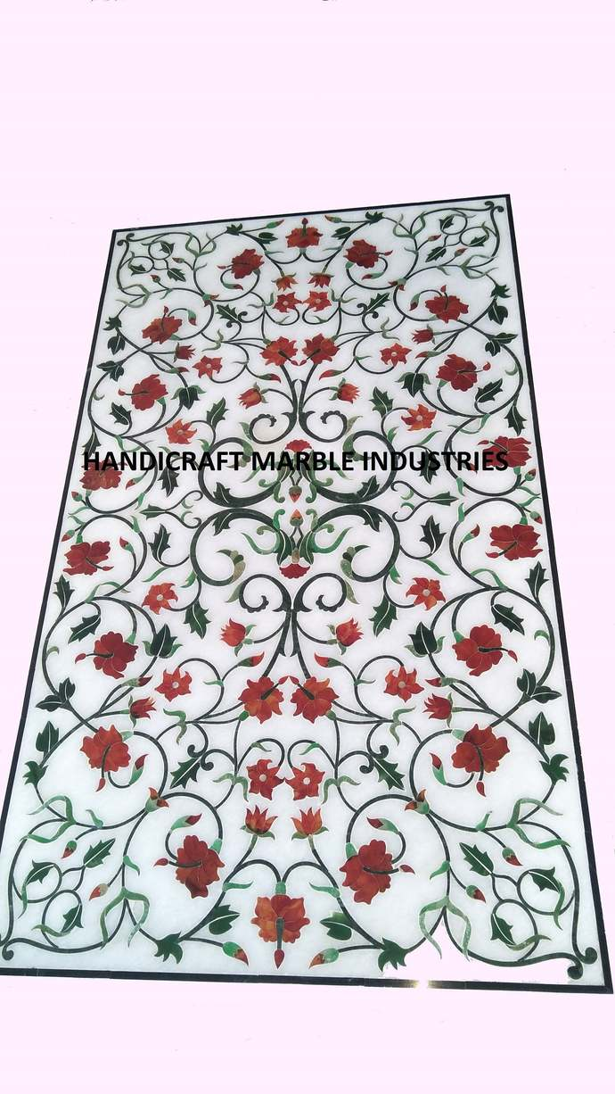 """48"""" x 24"""" Inch White Marble Dining Table Pietra Dura Modern Decor Hallway Table"""