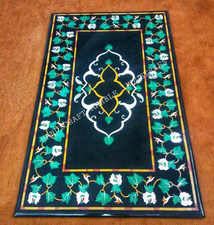Black Marble Inlay Coffee Table Malachite Flowers Pietra Dura Design