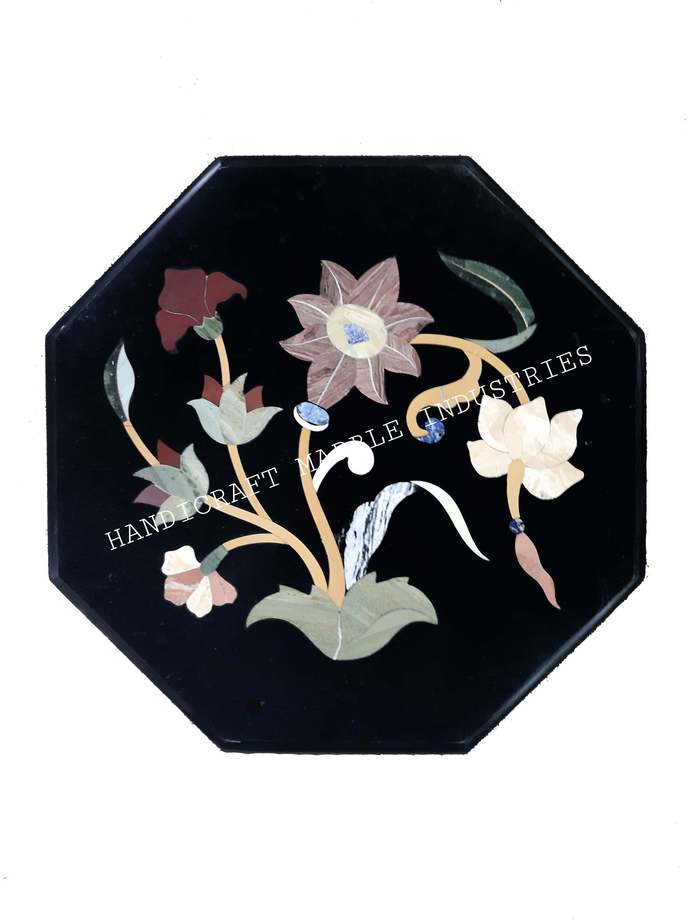 Black Marble Coffee Table Pietra Dura, Side Table Top, Garden Table Top, Bedside