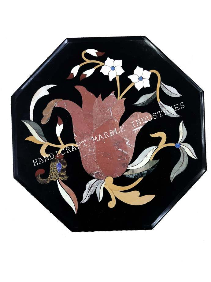 Black Marble Table Tulip Flower Pietra Dura Table Top, Bedside Table Top,