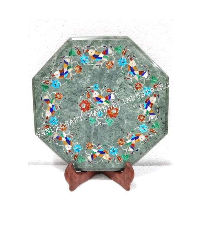 Bird Inlay Green Marble Plate Pietra Dura Marquetry Floral Inlay Gift