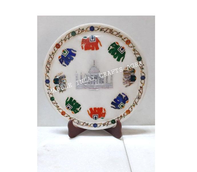Taj Mahal India Inlaid Round Plate Multi Colour Elephants Gift of Love