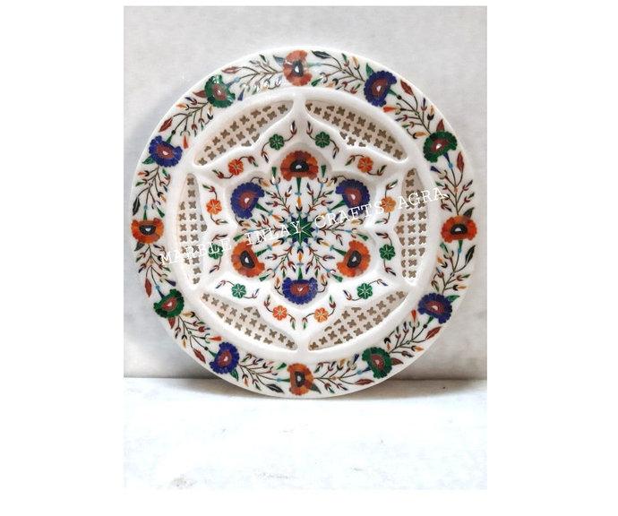 Decorative Plate Filigree Marigold Flower Design Modern Decor Artifact