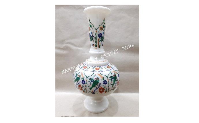 White Marble Inlay Flower Vase Bird Design Home Decor Furniture Gift