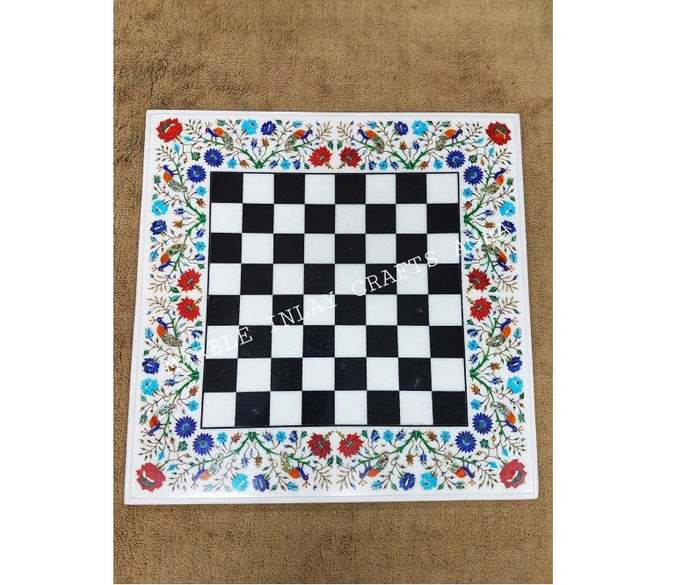 Marble Chess Table Floral Inlay Pietradura with Marble Pieces & Stand Marquetry