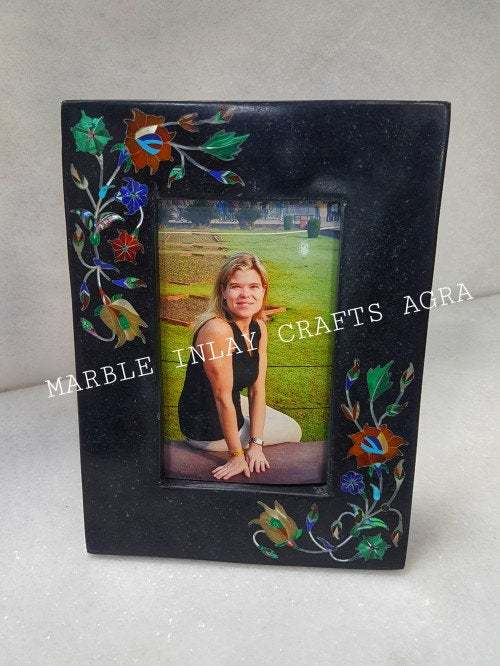 Black Marble Picture Frame Multicolour Inlay Wedding Gift Art Piece 8x6 Portrait