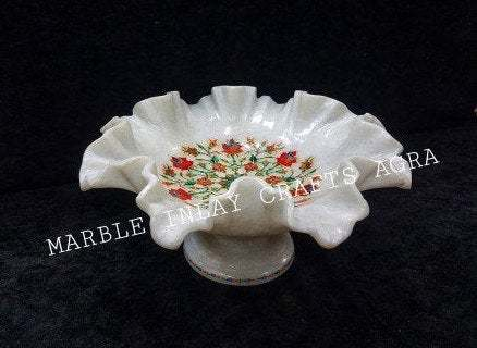 Fruit Bowl White Marble Carnelian Inlay Decorative Handmade Floral Art Flower