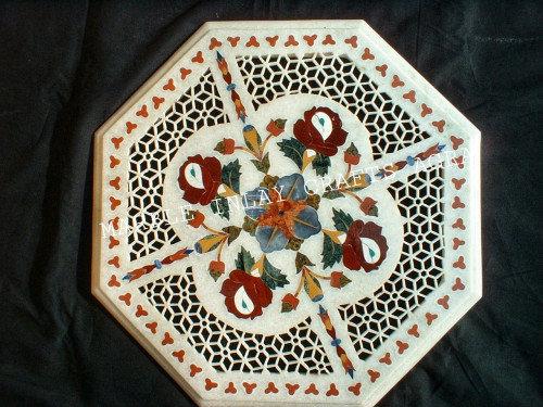 White Marble Inlay Art Filigree Pietradura Gift Home Decor Table Top Floral