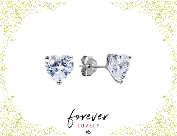 8mm Heart Diamond Studs - Small Earrings - CZ Silver Studs - Stone Earrings - CZ