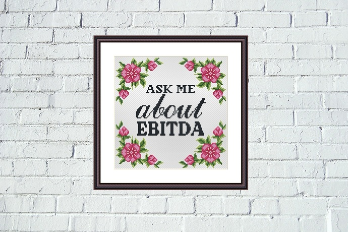 Ask me funny floral cross stitch