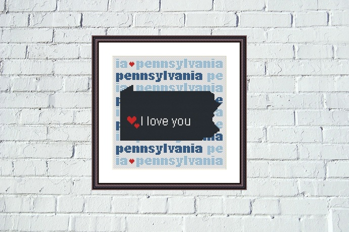 Pennsylvania state map cross stitch embroidery