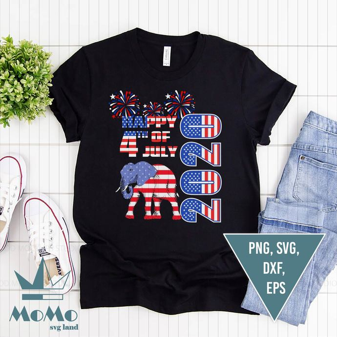 Happy 4th Of July 2020 Svg, Elephant Svg, American Flag, 4th Of July,