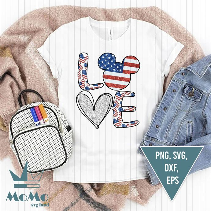 Love Svg, Mickey Svg, Disney Svg, American Flag, 4th Of July, Independence Day,