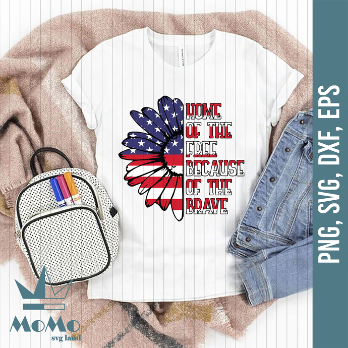Home Of The Free Because Of The Brave Svg, 4th Of July Svg, USA Flag Svg, Flower