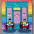 "16"" x 20"" The Rainbow Cafe Original Whimsical Cat Folk Art Painting"