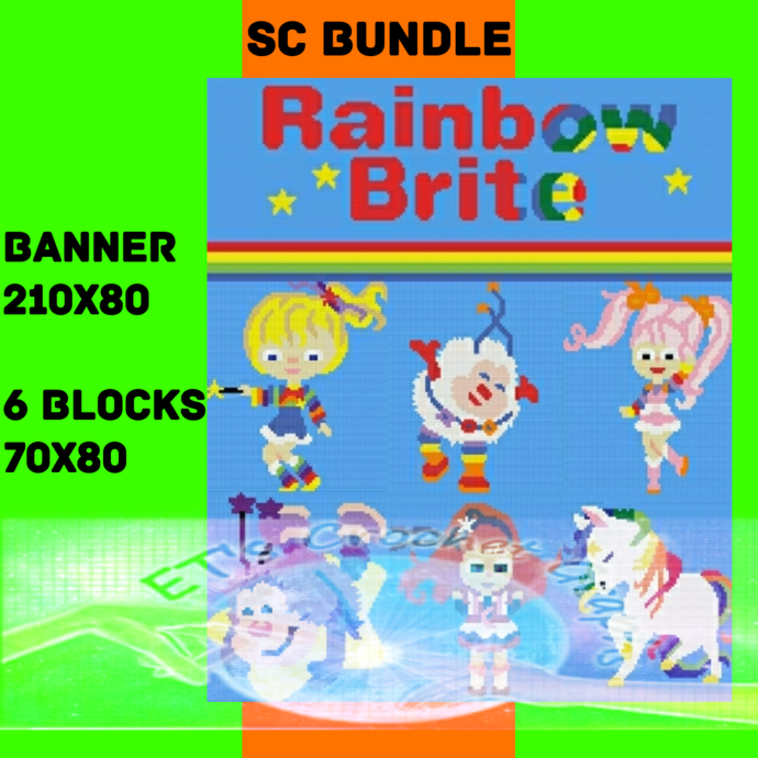 Rainbow Brite SC 7 Patterns includes color chart instructions