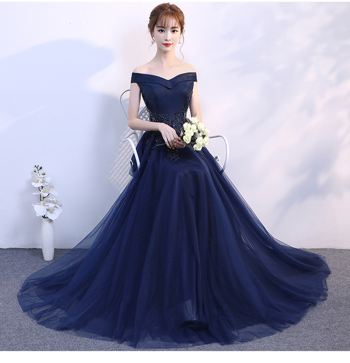 Navy Blue A-line Long Prom Dress, Tulle Bridesmaid Dress Evening Dress