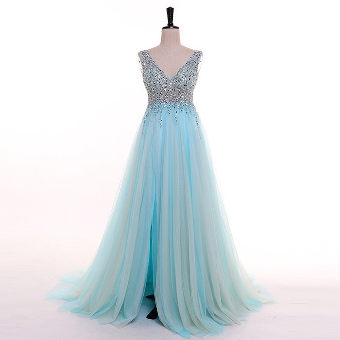 Blue Slit Tulle Beaded Sexy Long Prom Dress, Blue Evening Gown