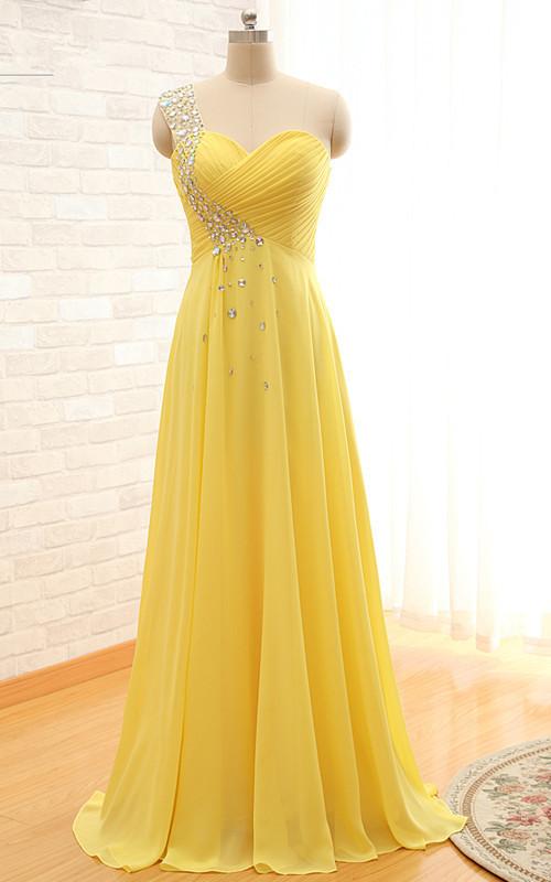Light Yellow One Shoulder Chiffon Beaded Long Prom Dress, Evening Dresses