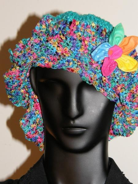 Hand Crocheted Turquoise Fancy Ribbon Hat Decorative Flower McLeodHandCraftGifts