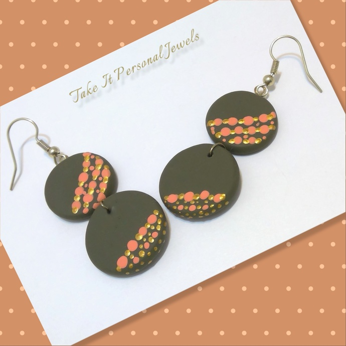 Handmade Hand-Painted Polymer Clay Earrings Summer Jewelry