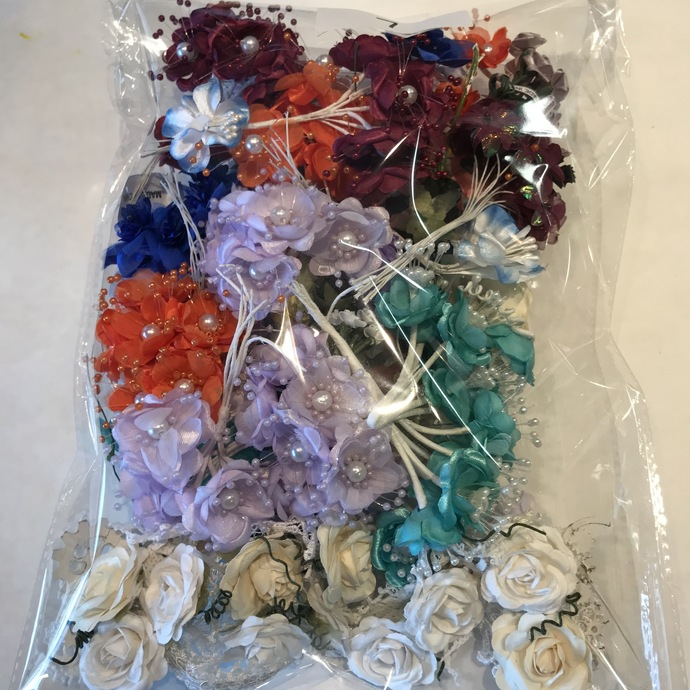 Flower Destash Lot #7 Flowers, mulberry paper and Silky fabric, some Wild Orchid