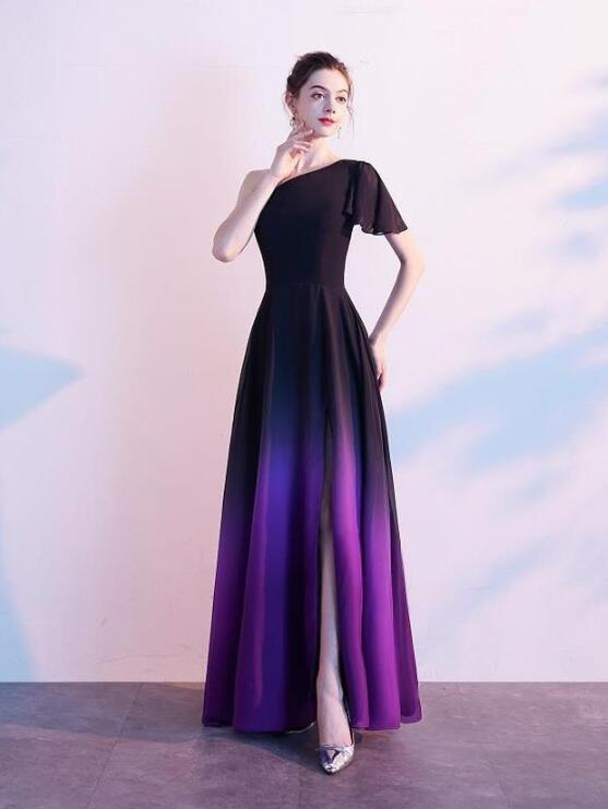 Purple and Black Gradient Chiffon Long Bridesmaid Dress, Slit Long Prom Dress