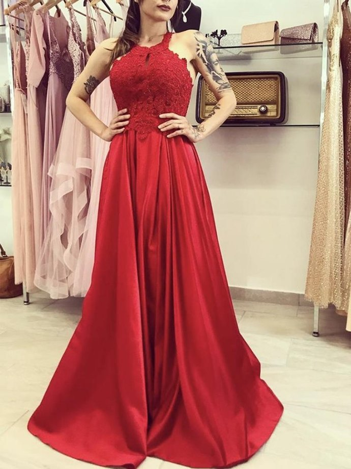 Beautiful Red Satin and Lace Halter Long Evening Gown, Red Party Dresses