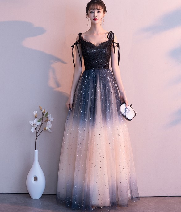 Beautiful Gradient Tulle A-line Straps Long Party Dress, Formal Gown